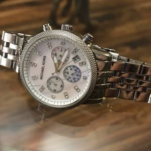 MICHAEL KORS SILVER/MOTHER OF PEARL WATCH MK5020